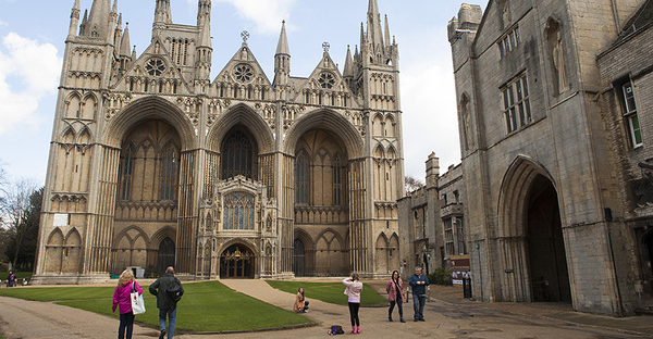 People visit Peterborough Cathedral in Peterborough, England, in April. The cathedral is the seat of the Anglican Bishop of Peterborough. (Melanie Stetson Freeman/Staff)