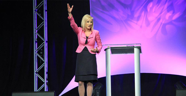 Pastor Paula White is seen preaching at New Destiny Christian Center in Apopka, Florida, in this 2013 photo shared on Facebook. (PHOTO: FACEBOOK/PAULA WHITE)