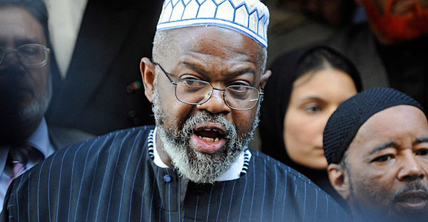 Imam Talib Abdur-Rashid of the Muslim Alliance in North America speaks at a news conference in front of the proposed Islamic center and mosque site near ground zero, Monday, in New York. (Louis Lanzano/AP)