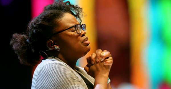 Michelle Higgins sought support for the Black Lives Matter movement at the 2016 InterVarsity Christian Fellowship conference. (Credit: Paul M. Walsh/The Leader-Telegram, via Associated Press)