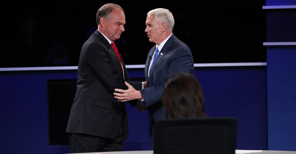 Senator Tim Kaine, left, and Gov. Mike Pence threw each other on the defensive at the vice-presidential debate in Farmville, Va., on Tuesday. (Credit: Doug Mills/The New York Times)