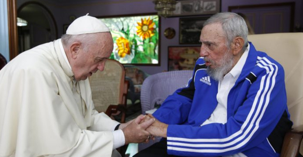 In this Sunday, Sept. 20, 2015 photo, Pope Francis meets Fidel Castro in Havana, Cuba. (Credit: AP Photo/Alex Castro.)