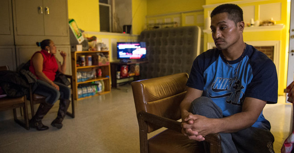 Mr. Flores has taken sanctuary in the basement of the Arch Street church to avoid deportation. On Christmas Day, he had been there six weeks. (Credit: Charles Mostoller for The New York Times)