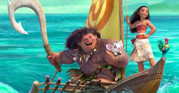 "Disney's ""Moana"" heroine is a spirited Polynesian girl played by Auli'i Cravalho. Dwayne Johnson, who is half Samoan, plays Maui. (Image courtesy of Disney Studios)"