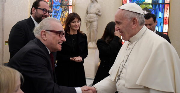 Pope Francis shakes hands with director Martin Scorsese, left, during their private audience at the Vatican, Nov. 30, 2016. (Photo: Getty Images)