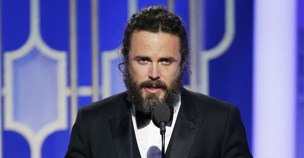 """In this handout photo provided by NBCUniversal, Casey Affleck accepts the award for Best Actor in a Motion Picture - Drama for his role in """"Manchester by the Sea"""" onstage during the 74th Annual Golden Globe Awards at The Beverly Hilton Hotel on January 8, 2017 in Beverly Hills, California. (Handout/Getty Images North America)"""