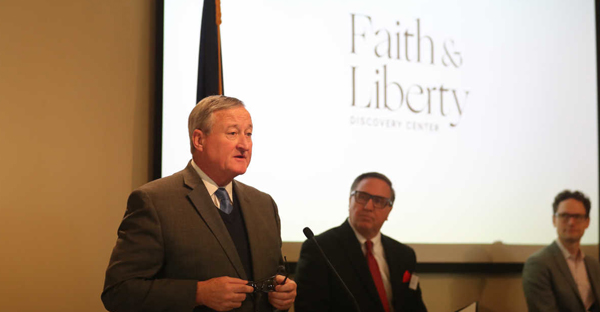 Mayor Kenney speaks on Wednesday Jan. 11, 2017, about the American Bible Society's plans to build a $60 million attraction on Independence Mall that will show how the Bible and religious faith have guided the American experience. (DAVID SWANSON / STAFF PHOTOGRAPHER)