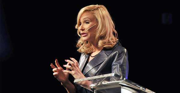 Paula White speaks at her church, New Destiny Christian Center, on Jan. 1, 2017, in Apopka, Fla. (RNS photo by Sarah M. Brown)