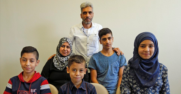 The Jouriyeh family, Syrian refugees who arrived in California in August (Lenny Ignelzi / AP)