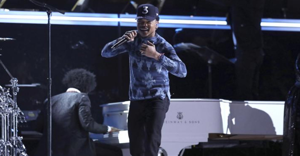 Chance the Rapper performs at the 59th annual Grammy Awards on Sunday, Feb. 12, 2017, in Los Angeles. (Photo by Matt Sayles/Invision/AP)