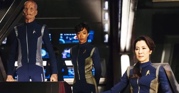 Doug Jones, Sonequa Martin-Green and Michelle Yeoh in the forthcoming Star Trek: Discovery (CREDIT: CBS)