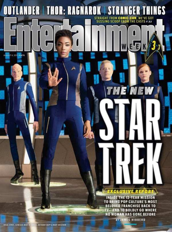 Cast members Doug Jones, Sonequa Martin-Green, Anthony Rapp and Mary Wiseman on the cover of this week's Entertainment Weekly.