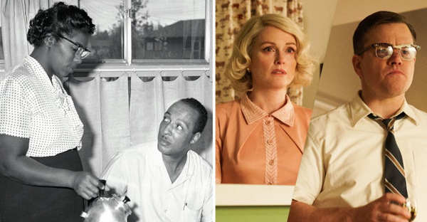 Daisy and William Myers; 'Suburbicon' Left, Sam Myers/A.P. Photo; Right, courtesy of Paramount Pictures