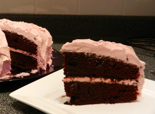 Chocolate Cake with Blackberry Buttercream | © UrbanCottageLIfe.com