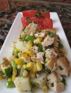Potato, Corn and Chicken Salad | © UrbanCottageLife.com