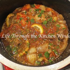 Middle Eastern-Inspired Beef Stew Bubbling in the Pot © Life Through the Kitchen Window