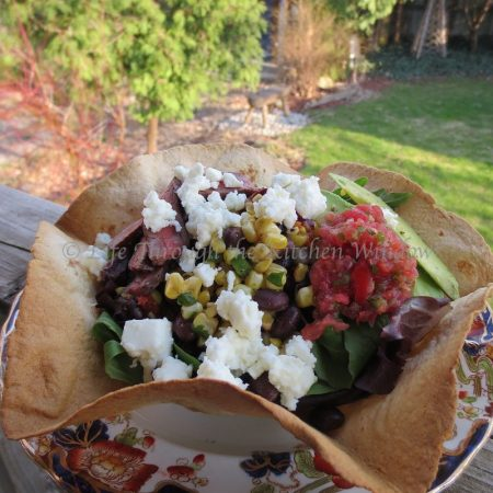 Tex-Mex Taco Salad with Black Beans, Roasted Corn and Queso Fresco in an Avocado Dressing ┆© Life Through the Kitchen Window