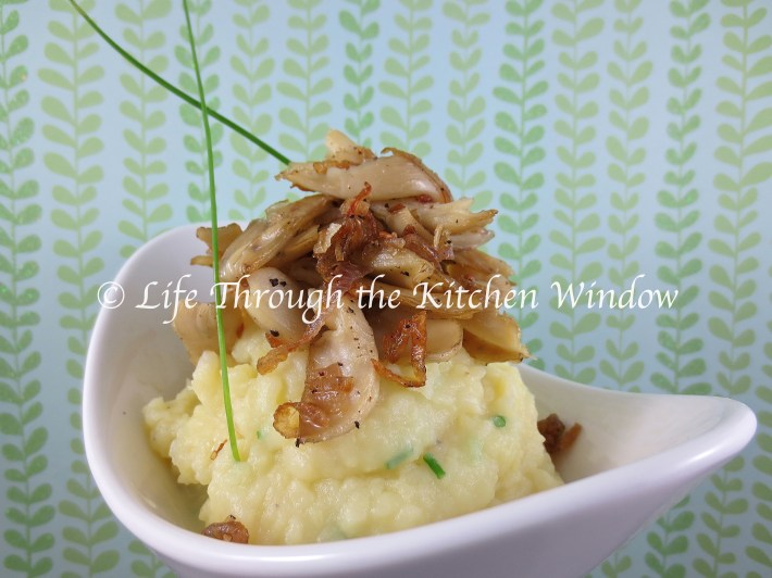 Chive Mashed Potatoes with Butter-Sauteed Oyster Mushrooms & Shallots | © Life Through the Kitchen Window