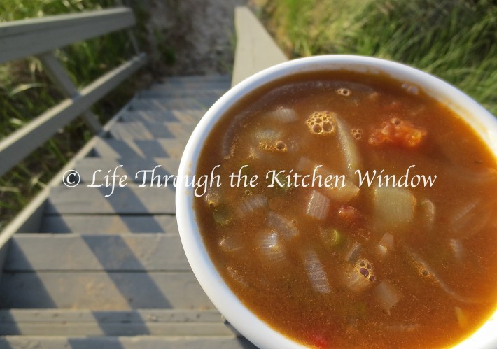 Garlic Scapes, Onion & Tomato Soup ⎮ © Life Through the Kitchen Window