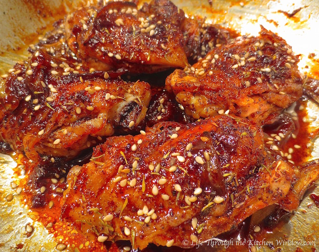 Pomegranate Molasses-Glazed Chicken Thighs│© Life Through the Kitchen Window.com