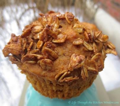 Orange & Sweet Potato Muffins with Caramel Oatmeal Crunch | © Life Through the Kitchen Window.com