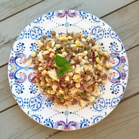 Lentils, Corn & Cauliflower Salad | © UrbanCottageLife.com