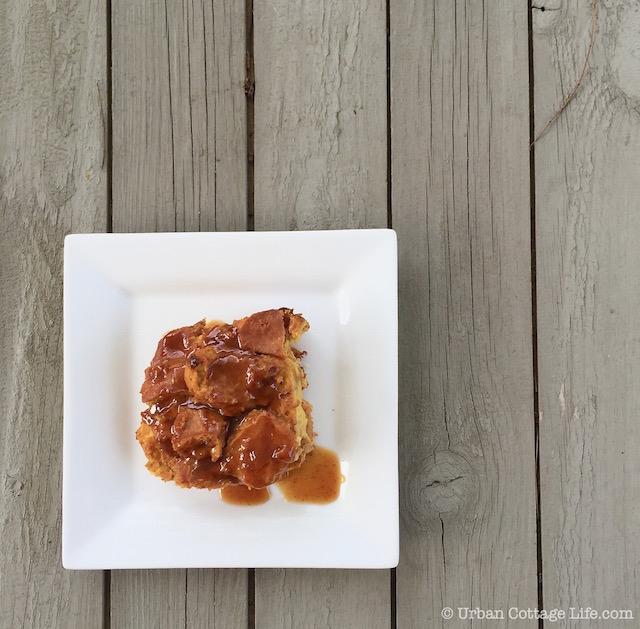 Pumpkin Maple Bread Pudding & Sweet Pumpkin Butter Sauce | Urban Cottage Life.com