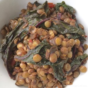Lentils & Beet Greens with Quick-Pickled Beet  © Urban Cottage Life.com