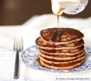 Porter Pancakes with Maple Beer Butter Sauce  © UrbanCottageLIfe.com