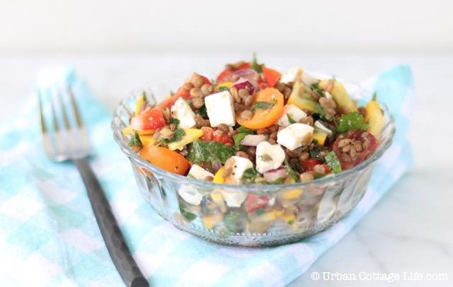 Lentil & Feta Summer Salad | © UrbanCottageLife.com