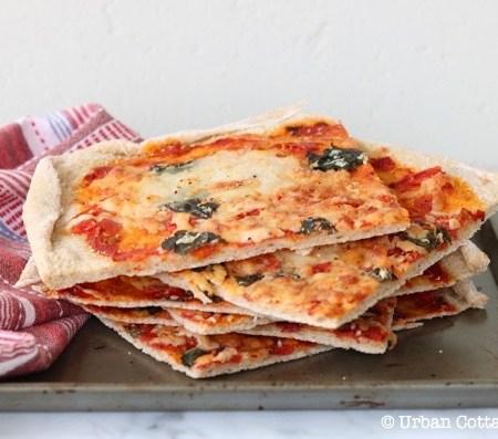 Pizza with Tomato, Mozzarella and Basil   © UrbanCottageLife.com
