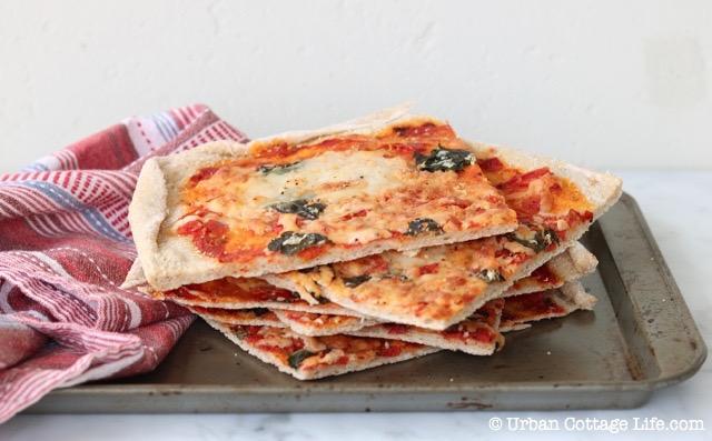 Pizza with Tomato, Mozzarella and Basil | © UrbanCottageLife.com