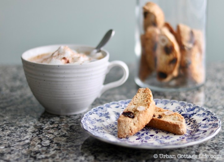 Hazelnut, Orange and Sour Cherry Biscotti, enjoyed with cappuccino.