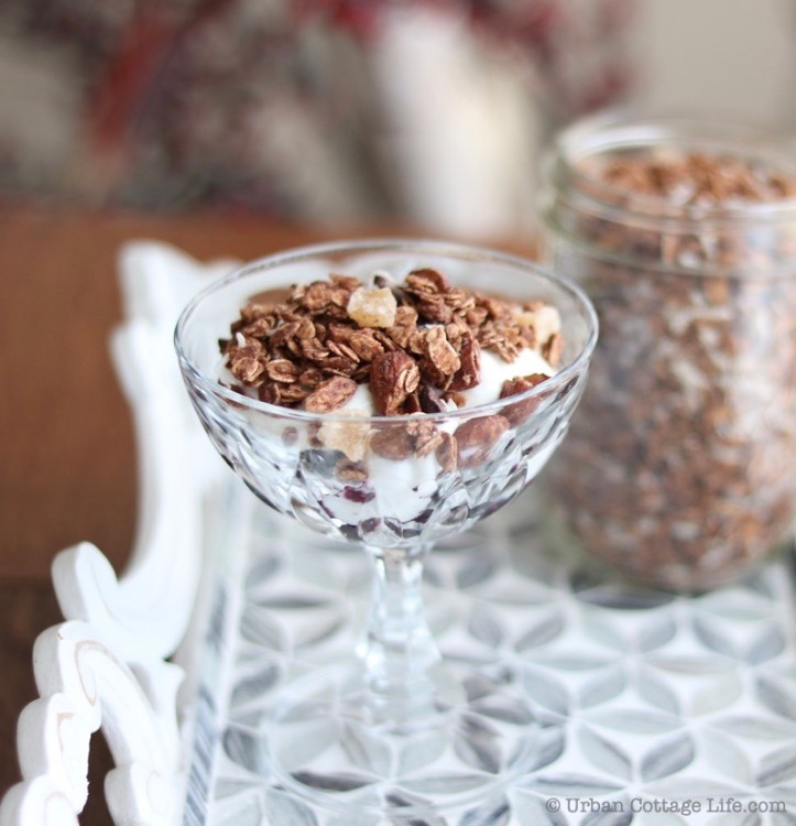 A 45-degree angle shot of a goblet of berries, yogourt and chocolate ginger granola on an elegant serving tray, with a jar of granola in the background, and further back an arrangement of. birch boughs and red berries.