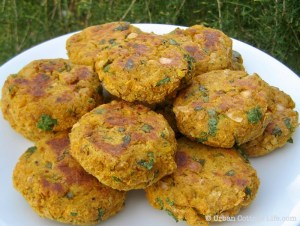 A plate of golden Butternut Squash and Chickpea Cakes