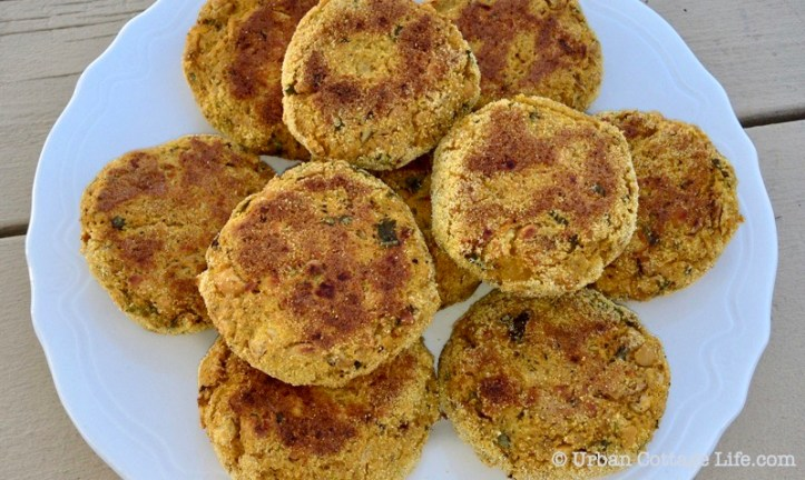 A plate of golden butternut squash and chickpea cakes on a wooden picnic table