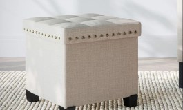"""Urban Revell 15"""" Wide Tufted Square Ottoman with Storage"""