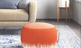 """Urban Denys 20"""" Wide Round Abstract Pouf Ottoman"""