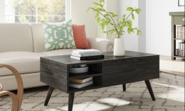 Urban Lift Top Extendable Solid Coffee Table with Storage Charcoal Black