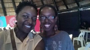 Cynthia Marangwanda with the amazing acoustic guitarist and female crooner Tariro NeGitare at the Poetry Lab, HIFA today just before she read from her novella SHARDS!!!!