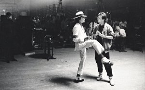 "Michael Jackson, left, and Vincent Patterson working out ""Smooth Criminal"" choreography in ""Bad 25."""