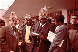 Nationalist historian Terence Ranger, Maurice Nyagumbo, Joshua Nkomo, James Chikerema and Robert Mugabe in 1961. (David Wiley)