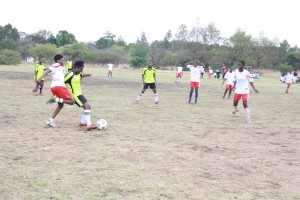 Action from the Final: Heart of Oark in lime-green & black and Sobukazi in Red and white.