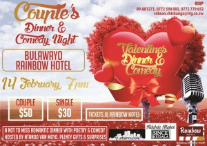 It will be a real feel of romance non of that loud music nonsense but a chilled valentine outing with subtle and sensual poetry plus comedy tailor made for lovers who are connoisseurs of exotic meals.