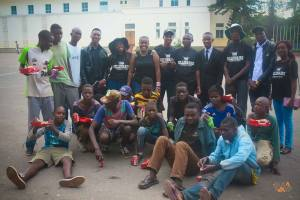 Marshal with street kids in Bulawayo on his birthday