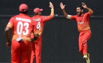 Sikandar Raza took three wickets before making a vital contribution with the bat to see Zimbabwe through in a tense chase © AFP