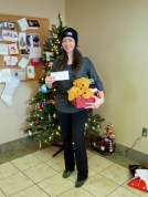 Fran Menton at the Saint John SPCA Animal Rescue with the cheque from the Urban Deli fundraiser.