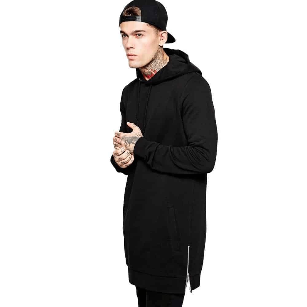 , Men's fleece hoodies sweatshirts side zip to hem design long sweat shirt men longline hoodie for men hoodies &amp ; sweatshirts, Urbane London, Urbane London