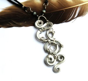 Silver Wire Wrapped Spiral and Black Cord Necklace
