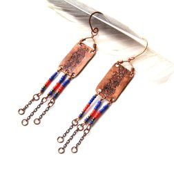 Bohemian Urban Eclectic Jewelry Handmade Costa Rica Tribal Stamped Copper Beaded Fringe Earrings